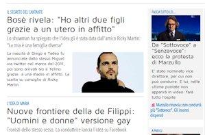 screenshot Libero Quotidiano, sezione spettacoli, mattina 1 luglio 2013