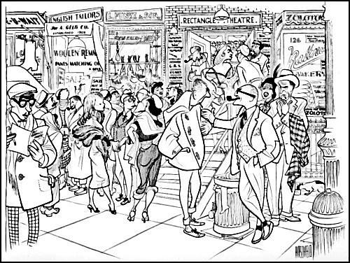 Al Hirschfeld (1956)- Off Broadway Theatre Audience Intermission