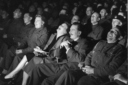 945:  An audience, mostly servicemen, enjoying a comedy show at the BBC.  (Photo by Erich Auerbach/Getty Images)