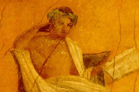 Menandro. Particolare dell'affresco della casa di Menandro, Pompei
