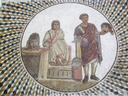 Mosaico raffigurante due attori latini con maschere. Musee Sousse, Tunisi