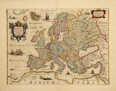 antica mappa dell'Europa