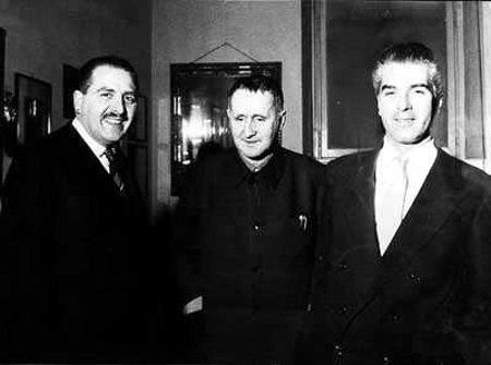 da sinistra Paolo Grassi, Bertolt Brech, giorgio Strehler