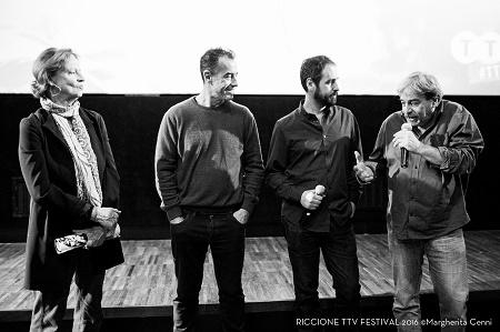 Maria Bosio, Matteo Garrone,Graziano Graziani e Attilio Scarpellini alla proiezione de L'altra estate. Foto di Margherita Cenni