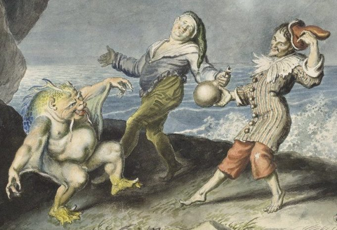 detail of Johann Heinrich Ramberg painting of the Tempest - Stephano, Trinculo and Caliban.  Johann Heinrich Ramberg (1763–1840)